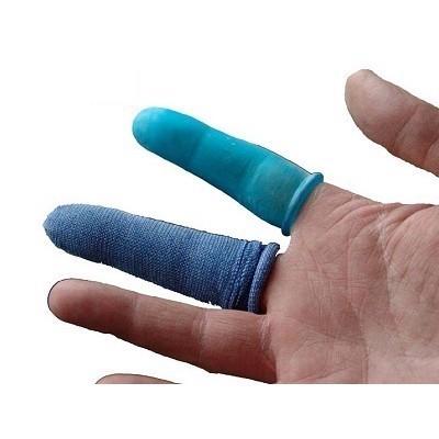 Detekterbara Blå fingerskydd textil M 25st/frp