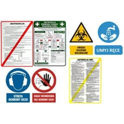 Papperdekaler och instruktioner tryckta på rostfritt stål
